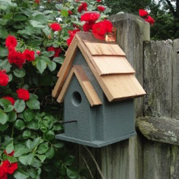 - WOODEN EXPRESSION RUSTIC CABIN CHICKADEE/WREN HOUSE GREEN