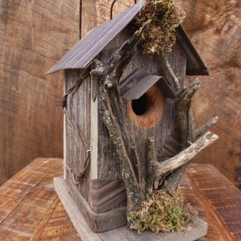 - NATURE CREATIONS NATURAL WEATHER WOOD HOUSE WITH BRANCHES