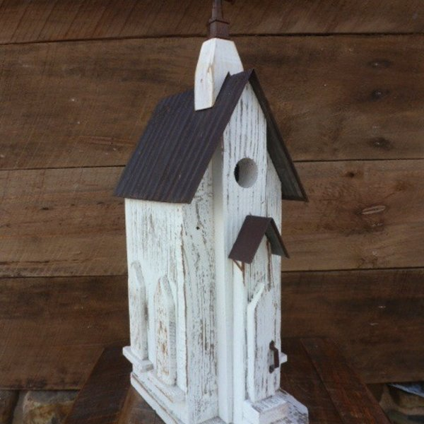 - NATURE CREATIONS BARN WOOD CHURCH BIRDHOUSE #42 WHITE