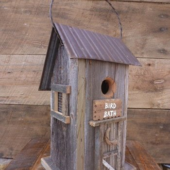 "- NATURE CREATIONS HANGING ""BIRD BATH"" HOUSE NATURAL W/TIN ROOF"
