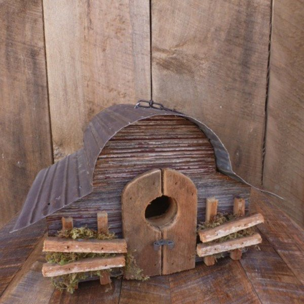 - NATURE CREATIONS BARN WOOD HANGING WREN HOUSE #23 NATURAL