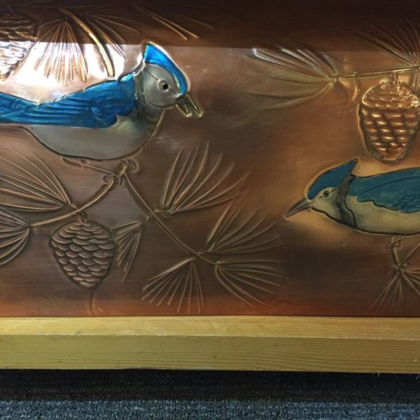 """- GREG HENTZI COPPER ETCHED MAILBOX """"BLUE JAY"""""""