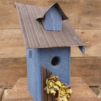 - NATURE CREATIONS RUSTIC BLUEBIRD HOUSE BLUE W/MUSTARD FLOWERS/TIN ROOF