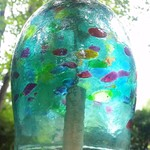 "- KITRAS ART GLASS CALICO BELL TEAL 8"""