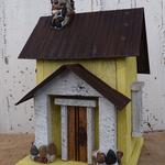 - NATURE CREATIONS BARN WOOD BIRD HOUSE TIN ROOF #54 YELLOW