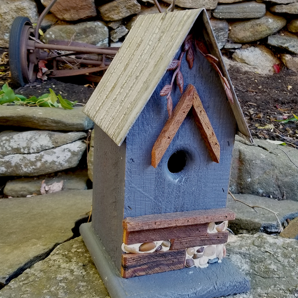 - NATURE CREATIONS BARN WOOD HANGING HOUSE  #66 STEEL BLUE