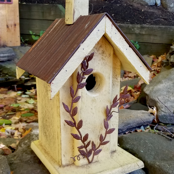 - NATURE CREATIONS BARN WOOD BIRD HOUSE W/TIN ROOF #04 YELLOW