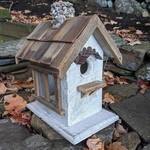 - NATURE CREATIONS BARN WOOD BIRD HOUSE W/WOOD ROOF #15 WHITE