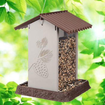 - NORTH STATES BROWN/SILVER PINECONE HOPPER STYLE FEEDER