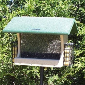 - BIRDS CHOICE RECYCLED 7QT 2-SIDED HOPPER FEEDER W/SUET CAGES