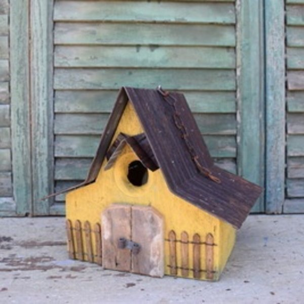 - NATURE CREATIONS BARN WOOD HANGING HOUSE W/TIN ROOF #28 MUSTARD