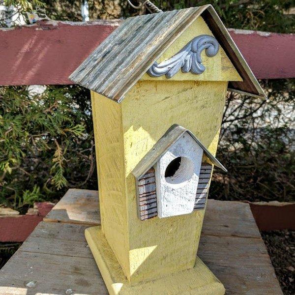 - NATURE CREATIONS BARN WOOD BIRD HSE W/TIN ROOF #47 YELLOW