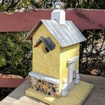 - NATURE CREATIONS BARN WOOD BIRD HOUSE W/TIN ROOF #52 YELLOW