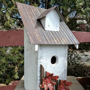 - NATURE CREATIONS RUSTIC BLUEBIRD HOUSE WHITE W/RED FLOWERS/TIN ROOF