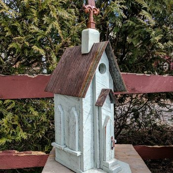 - NATURE CREATIONS BARN WOOD CHURCH BIRDHOUSE #42 SAGE