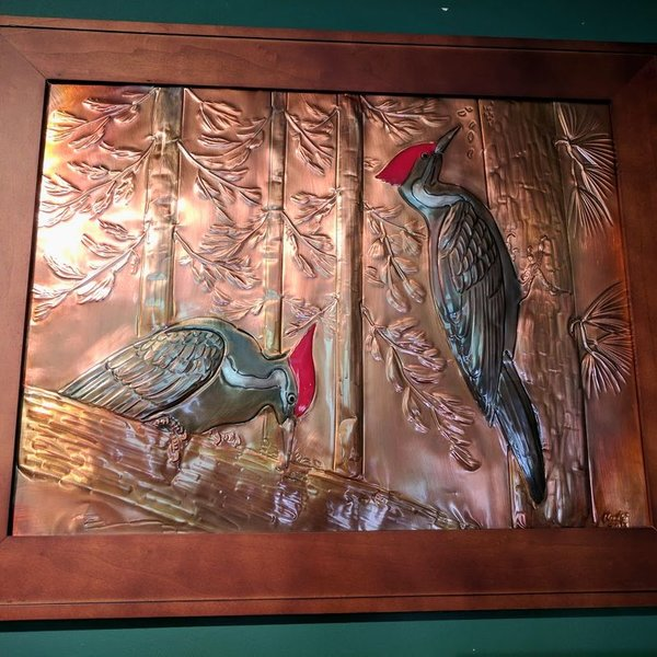 "- GREG HENTZI FRAMED COPPER ETCHING ""PILEATED WOODPECKERS"""