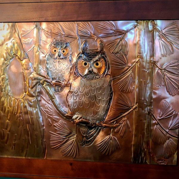 """- GREG HENTZI FRAMED COPPER ETCHING """"TWO OWLS"""""""