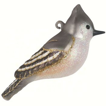 - COBANE TUFTED TITMOUSE GLASS ORNAMENT