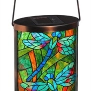 - EVERGREEN TIFFANY INSPIRED DRAGONFLY SOLAR LANTERN