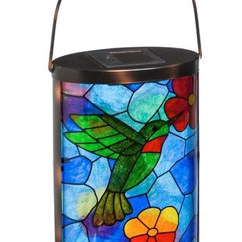 - EVERGREEN TIFFANY INSPIRED HUMMINGBIRD SOLAR LANTERN