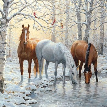 - COBBLE HILL WINTER TRIO HORSE PUZZLE 1000PC