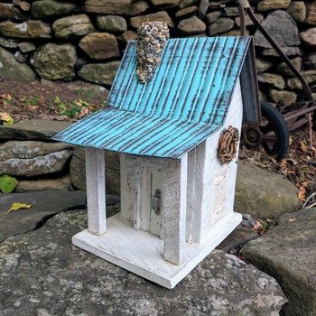 - NATURE CREATIONS BARN WOOD CABIN W/TIN ROOF #09 WHITE W/TEAL