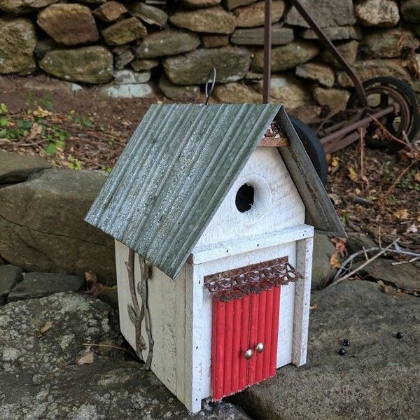 - NATURE CREATIONS BARN WOOD HANGING HOUSE W/TIN ROOF #17 RED DOOR