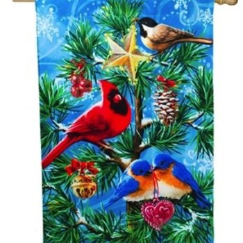 - EVERGREEN FESTIVE FLOCK ESTATE FLAG