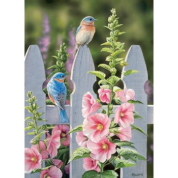 - COBBLE HILL BLUEBIRDS & HOLLYHOCKS PUZZLE 1000PC.