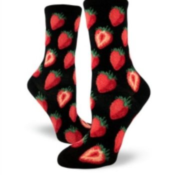- MODSOCK SWEET STRAWBERRIES CREW SOCKS BLACK