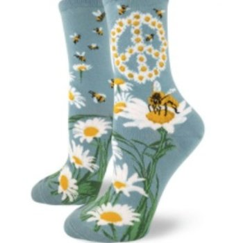 - MODSOCK GIVE BEES A CHANCE CREW SOCKS SLATE BLUE