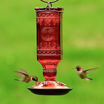 - P.P. RED SQUARE ANTIQUE GLASS HUMMINGBIRD FEEDER