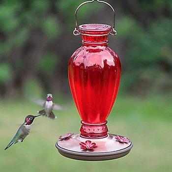 - PERKY PET RED DAISY VASE VINTAGE HUMMINGBIRD FEEDER