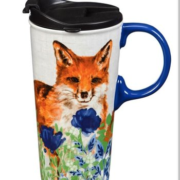 - EVERGREEN FLOWERS & FOX CERAMIC TRAVEL MUG