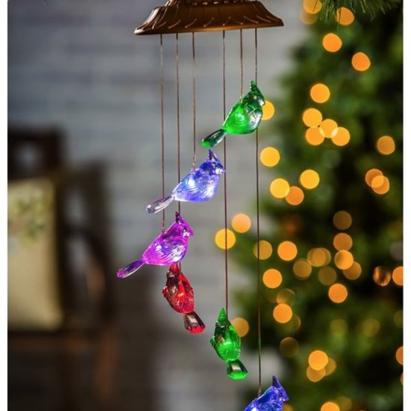 - EVERGREEN FACETED CARDINAL SOLAR MOBILE WINDCHIME
