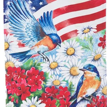 - EVERGREEN AMERICAN FLAG BIRDS SUEDE FLAG