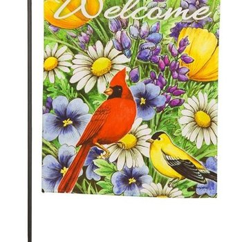 - EVERGREEN ORIOLE AND CARDINAL SUEDE GARDEN FLAG