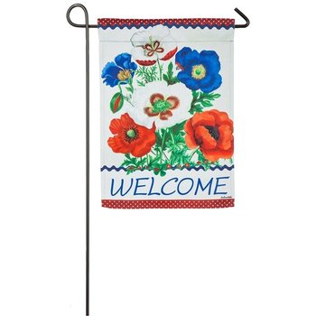 - EVERGREEN FLORAL WELCOME SUEDE GARDEN FLAG