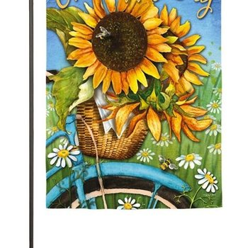 - EVERGREEN HAPPY DAY SUNFLOWERS SUEDE GARDEN FLAG