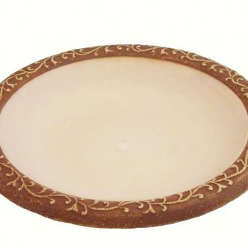 - TIERRA GARDEN WHITE GLOSS BIRD BATH BOWL WITH BROWN