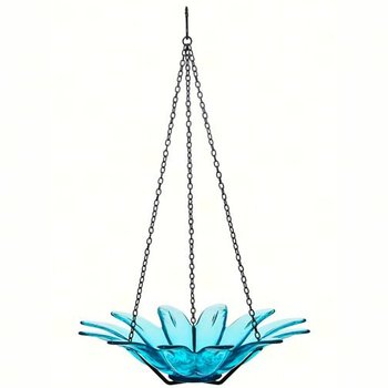 "- COURONNE CO 12"" DAISY GLASS BIRDBATH AQUA"