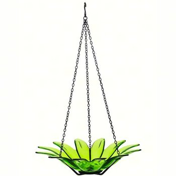 "- COURONNE CO 12"" DAISY GLASS BIRDBATH LIME"