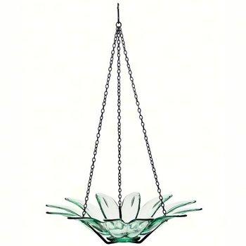 """- COURONNE CO 12"""" DAISY GLASS BIRDBATH CLEAR"""