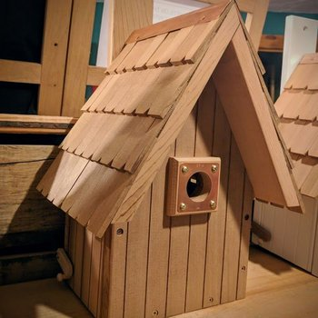 - OLD TIME A-FRAME BIRDHOUSE NATURAL CEDAR
