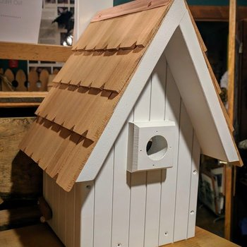 - OLD TIME A-FRAME BIRDHOUSE WHITE