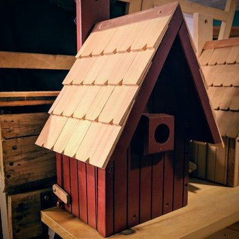 - OLD TIME A-FRAME BIRDHOUSE RED