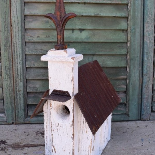 - NATURE CREATIONS BARN WOOD CHURCH HSE W/TIN ROOF #35 WHITE