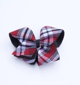 Medium Plaid Four Loop Bow Blk