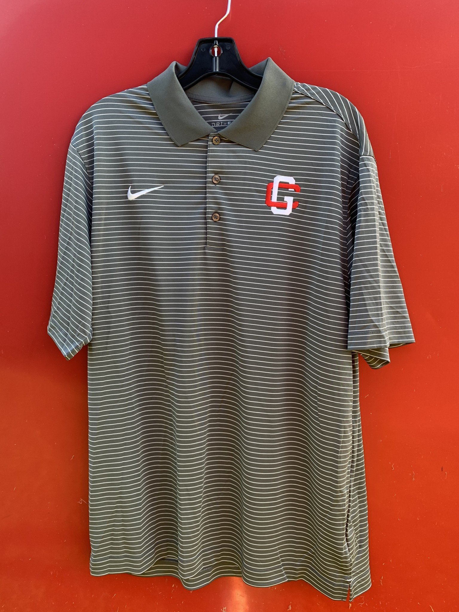 Z Nike Men Stadium Stripe Polo Dark Gray
