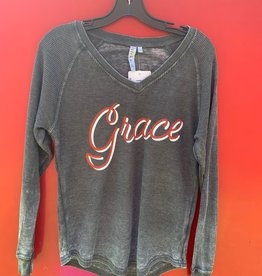 Chicka-D Z Thermal Raglan Top Charcoal